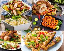 鲜虾烤鱼食物摄影高清图片