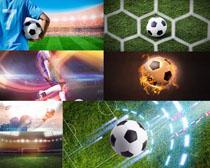 飞跃的足球场地摄影高清图片