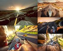 公路上的摩托车摄影高清图片