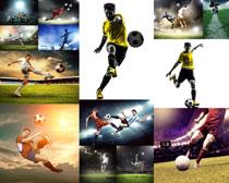 踢足球的运动员摄影高清图片