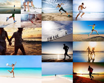 沙滩奔跑的人们摄影高清图片