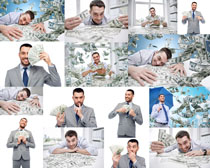 美元与商务男子摄影高清图片