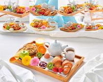 面包早餐茶摄影高清图片