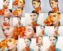 花朵与化妆美女摄影高清图片