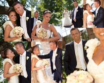 微笑的婚礼男女摄影高清图片