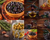 橄榄油果与油摄影高清图片