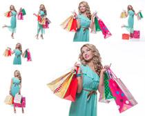 女人与购物袋摄影高清图片