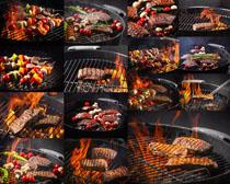 火焰烤牛排摄影高清图片
