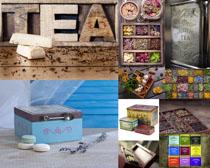 茶叶与箱子摄影高清图片