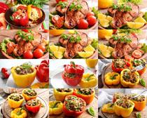 辣椒西红柿肉摄影高清图片