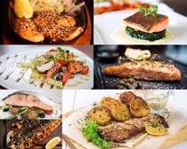 烤鱼肉块调料摄影高清图片