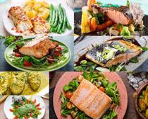 鱼肉拌菜摄影高清图片