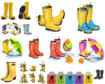 雨鞋与雨伞摄影高清图片