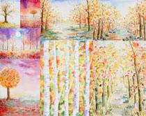 樹木油畫風景攝影高清圖片
