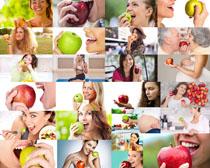 欧美人物与苹果摄影高清图片