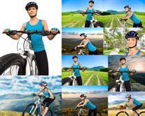 越野自行车与美女摄影高清图片