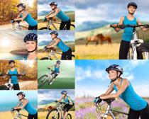 自行车与欧美女人摄影高清图片