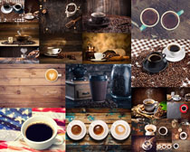 木板上的咖啡杯摄影高清图片