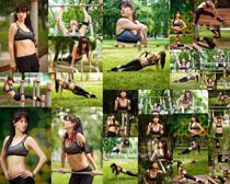 户外体能运动女子摄影高清图片