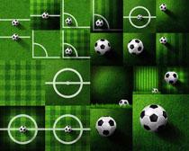 草地上的足球摄影高清图片