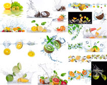 水果与飞溅的水摄影高清图片