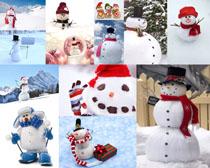 冬天可爱的雪人摄影高清图片