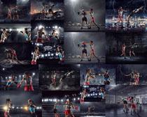 打拳击的女子摄影高清图片