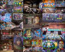 涂鴉藝術風墻壁攝影高清圖片