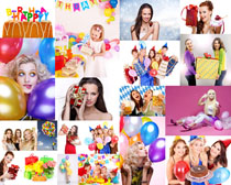 女子与生日礼物摄影高清图片