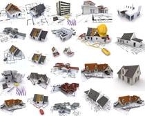 图纸与房屋模型摄影高清图片