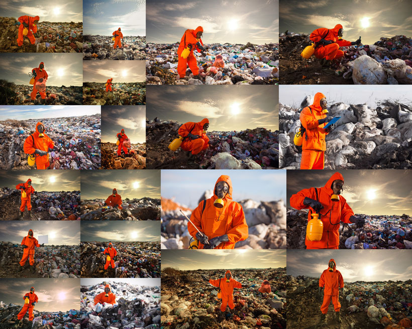 污染环境与人物摄影高清图片