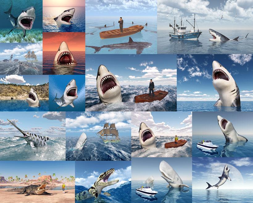 3D鲨鱼与船摄影时时彩娱乐网站