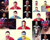 人脸国旗摄影高清图片