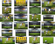 电视机里的足球比赛摄影高清图片