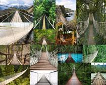木板绳子桥摄影高清图片