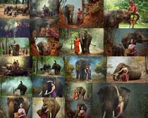 少数民族与大象摄影高清图片