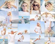 海边白裙美女摄影高清图片