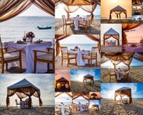 海边沙滩帐篷摄影高清图片