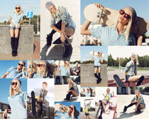 滑板与美女摄影高清图片