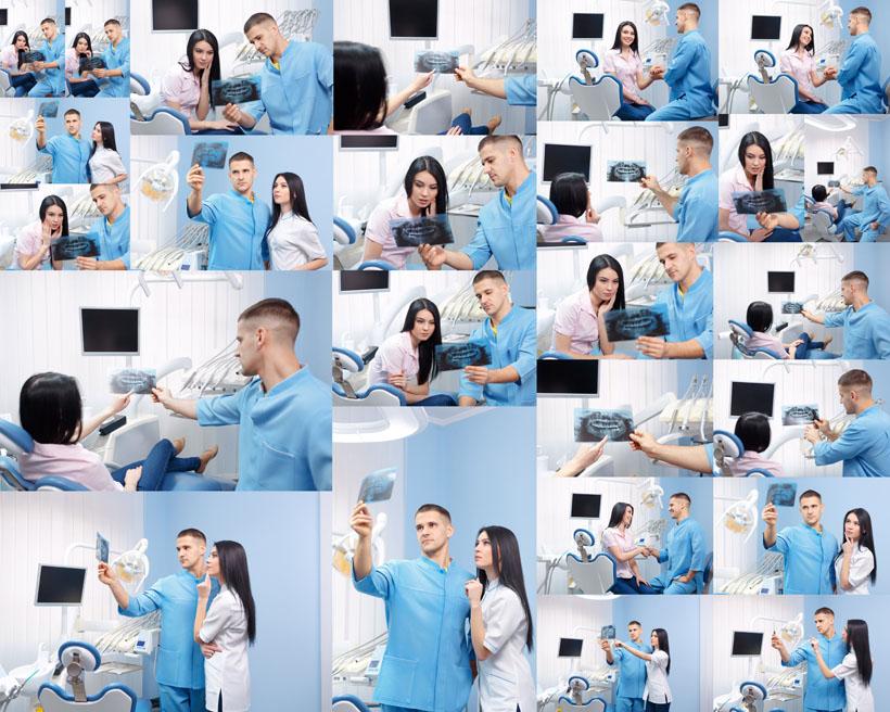 牙科拍片男女摄影高清图片