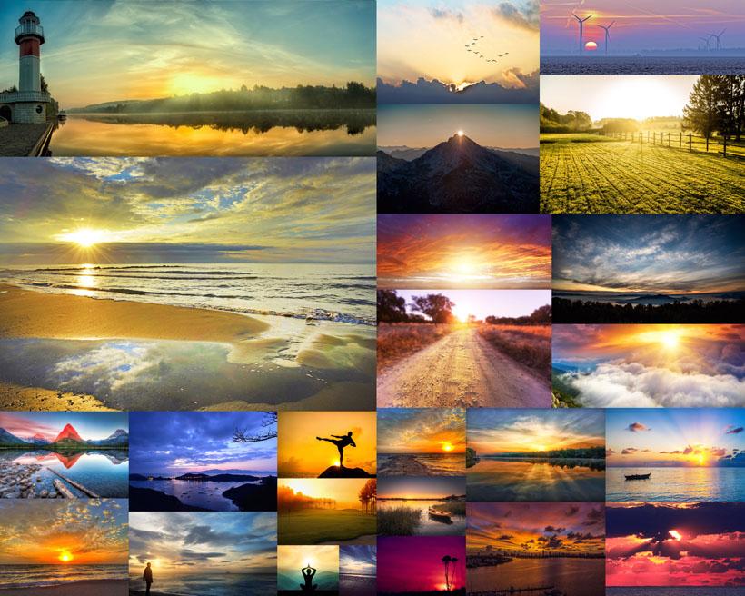 夕阳大海风景摄影高清图片