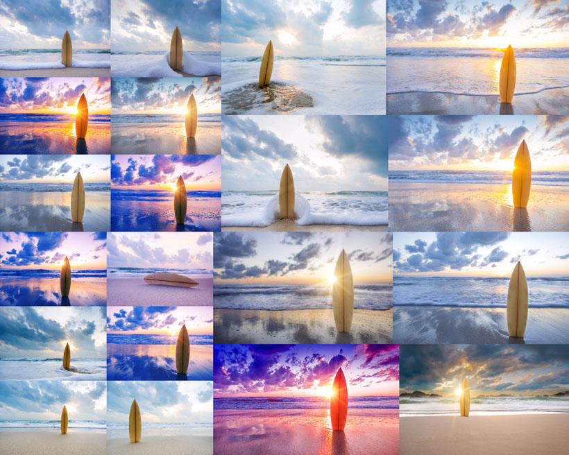 蓝天大海冲浪板摄影高清图片