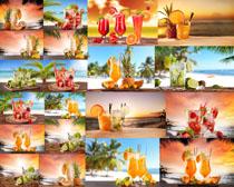 海灘果汁飲料攝影高清圖片