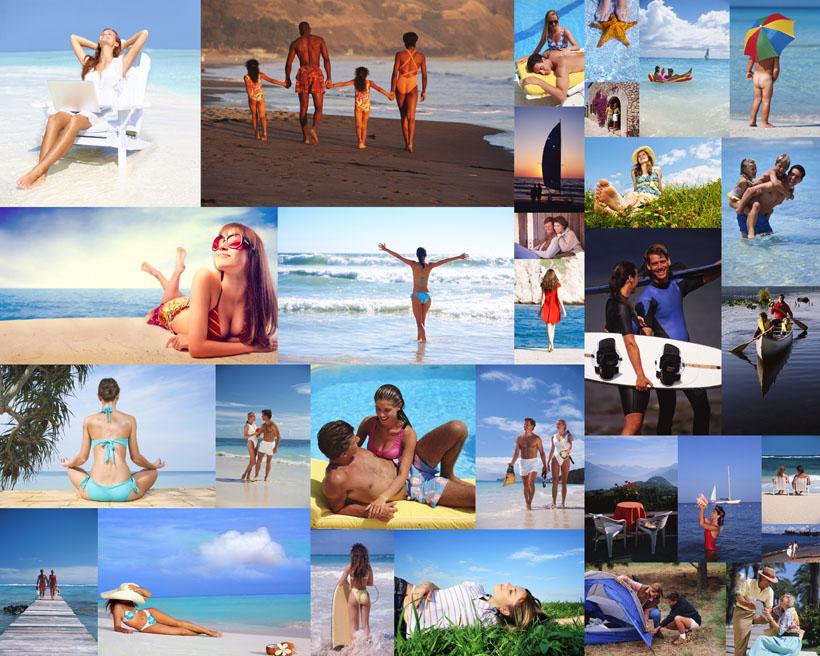 大海沙滩一家人摄影高清图片