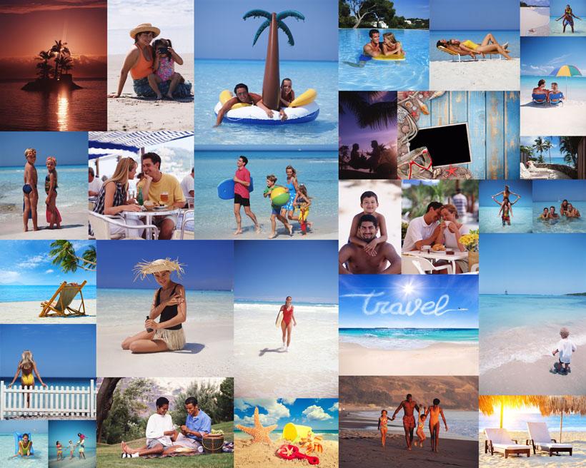海边沙滩一家人物摄影高清图片