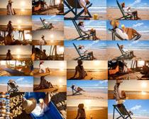 沙滩休闲美女摄影高清图片
