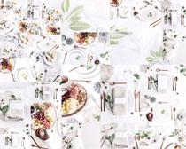 餐具与叶子摄影高清图片