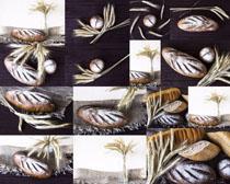 麦子与早餐面包摄影高清图片