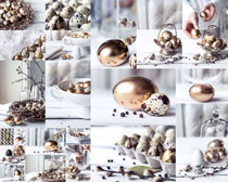 金蛋与鸡蛋拍照高清图片