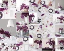 花朵与餐具摄影高清图片